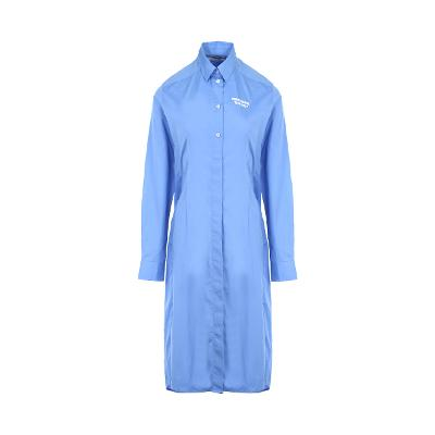 lettering point shirt dress blue